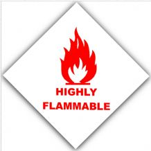 1 x Red on White Highly Flammable-External Self Adhesive Warning Stickers-Bottle Logo-Health and Safety Sign